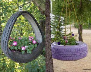 Membuat Kebun Vertikal dengan Ban Bekas